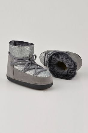 BYMN Hakiki Deri İçi Kürk Pullu Bayan Kar Botu B351004 Gümüş