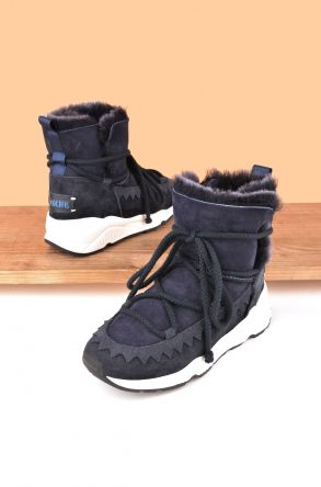 Pegia Laced Women Boots From Genuine Suede And Sheepskin P195011 Navy blue