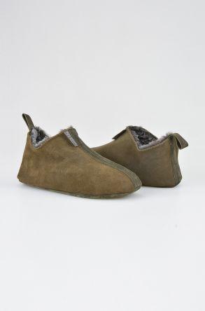 Pegia Hakiki Süet İçi Kürk Bayan Ev Ayakkabısı 191094 Haki