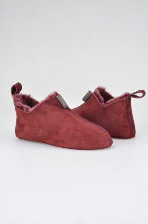 Pegia Женская Домашняя Обувь Из Натуральной Замши И Овечьего Меха 191094 Бордовый