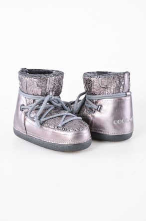Cool Moon Hakiki Kürklü Örgü Desen Bayan Kar Botu 351006 Gümüş