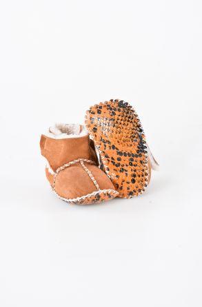Pegia Hakiki Kürk Cırtlı Bebek Patiği 141008 Taba