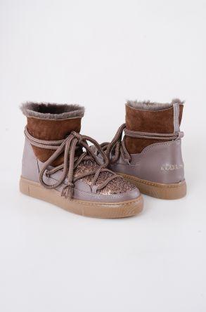 Cool Moon Hakiki Kürk Payetli Kadın Sneaker 355004 Vizon