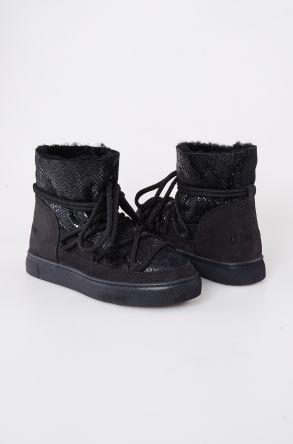 Cool Moon Hakiki Kürk Yılan Desen Kadın Sneaker 355012 Siyah